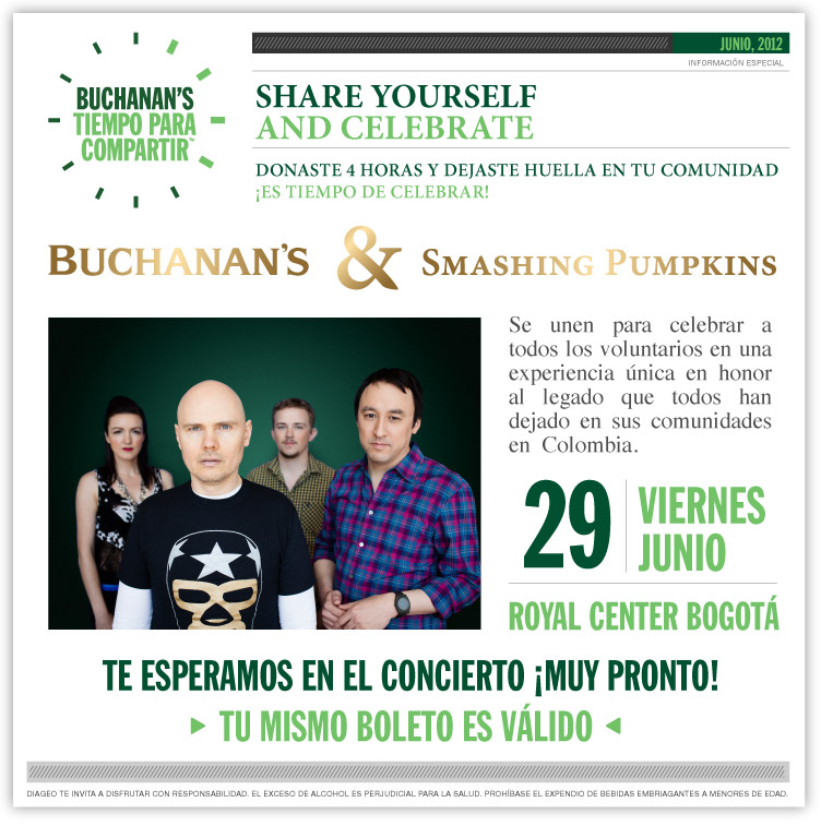 Smashing Pumpkins Joins Buchanan´s TIempo Para Compartir
